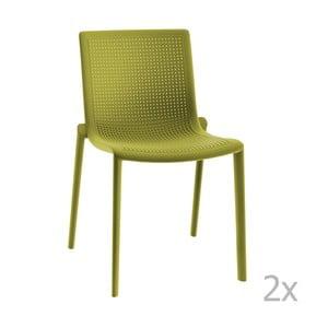 Sada 2 zelených záhradných stoličiek Resol Beekat
