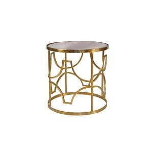 Odkladací stolík v zlatej farbe s doskou z mangového dreva Miloo Home Savoy, ⌀ 51 cm