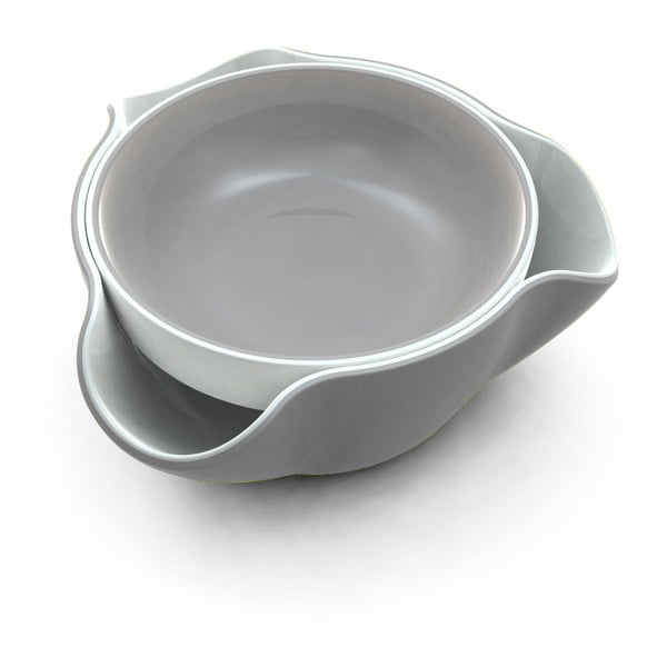 Dvojitá miska Double Dish, biela/sivá