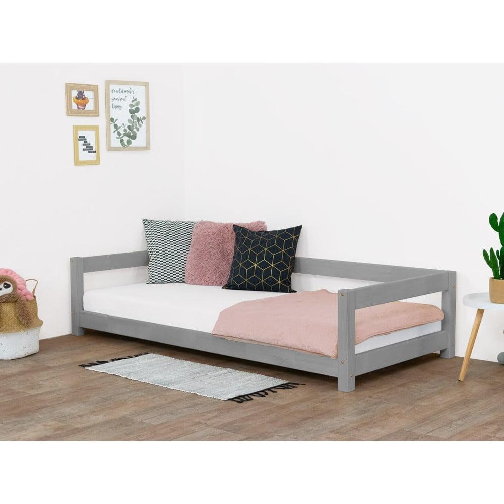 Sivá detská posteľ zo smrekového dreva Benlemi Study, 80 x 160 cm