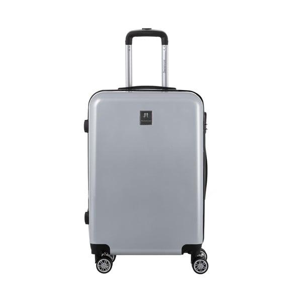 Sivý cestovný kufor so sadou nálepiek Berenice Stickers, 71 l