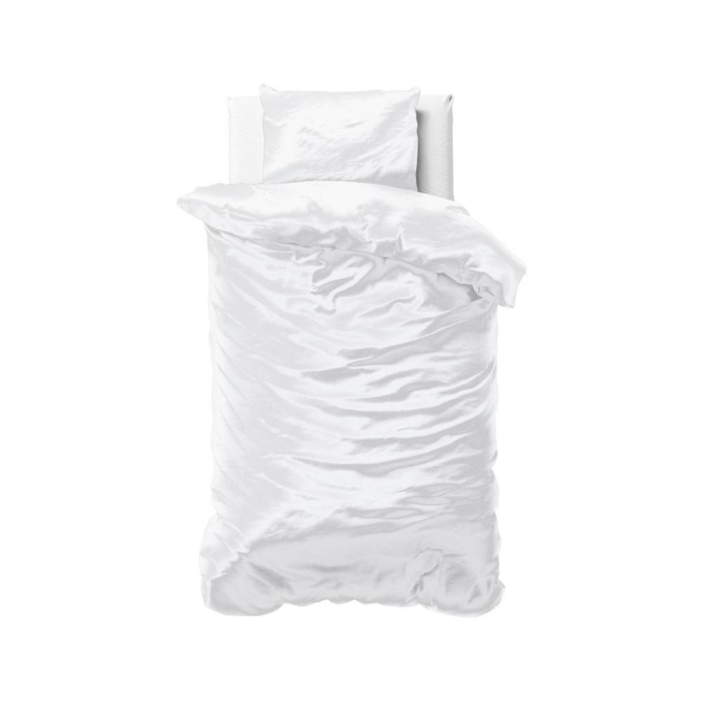 Biele obliečky zo saténového mikroperkálu na jednolôžko Sleeptime, 140 x 220 cm