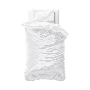 Biele obliečky zo saténového mikroperkálu na jednolôžko Sleeptime, 140 × 220 cm