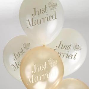 Sada 8 bielo-zlatých balónikov Neviti Vintage Romance