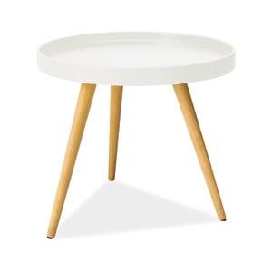 Biely odkladací stolík s nohami z kaučukového dreva Signal Toni, ⌀50cm