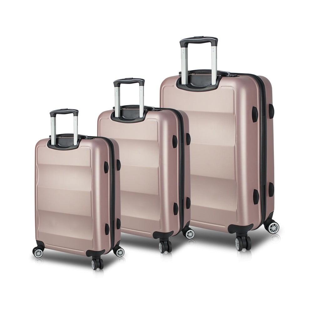 Sada 3 ružových cestovných kufrov na kolieskach s USB portmi My Valice LASSO Travel Set