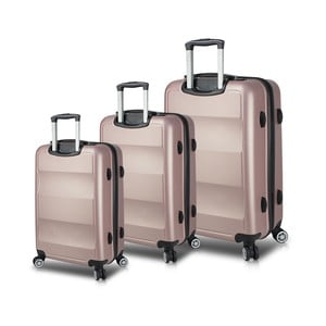 Sada 3 ružových cestovných kufrov na kolieskach s USB porty My Valice LASSO Travel Set