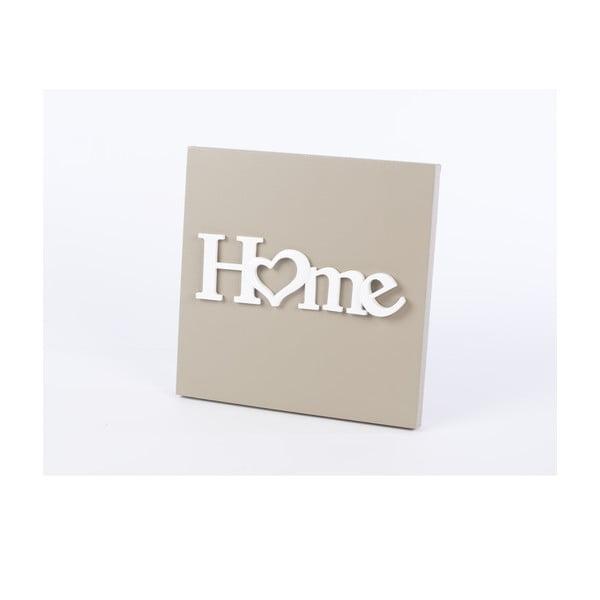 Drevený obraz Home 30x30 cm, béžový