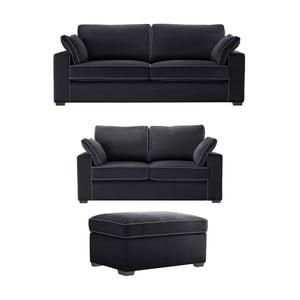 Trojdielna sedacia súpravaJalouse Maison Serena, čierna