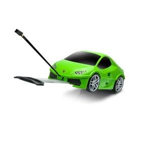 Zelený detský kufor na kolieskach v tvare auta Packenger