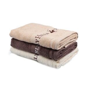 Sada béžového, hnedého a krémového uteráka Beverly Hills Polo Club Tommy Yazi, 50×100 cm