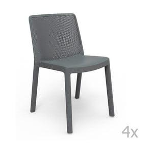 Sada 4 sivých záhradných stoličiek Resol Fresh