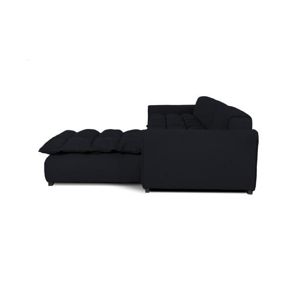 Čierna pohovka pre troch s leňoškou na pravej strane VIVONITA Cloud