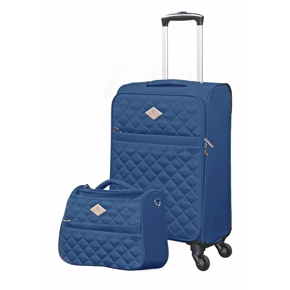 Set modrého cestovného kufra na kolieskach a menšieho kufríka GERARD PASQUIER Valises Cabine & Unity Case