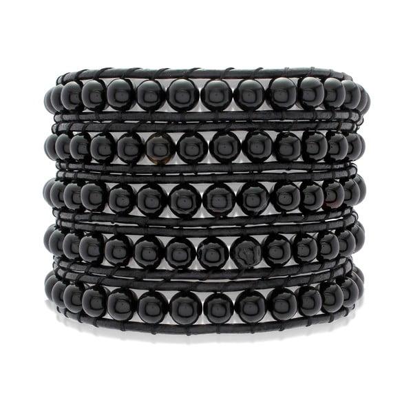 Čierny päťradový náramok z pravej kože s perlami Lucie & Jade