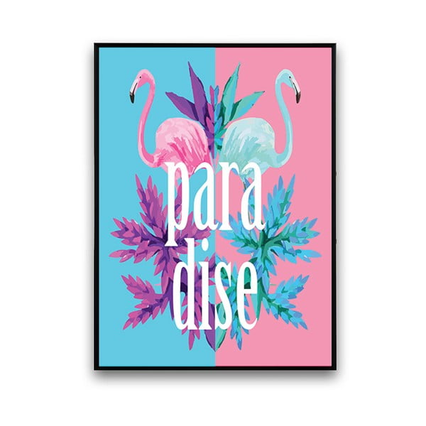 Modro-ružový plagát s pelikánmi Paradiso, 30 x 40 cm