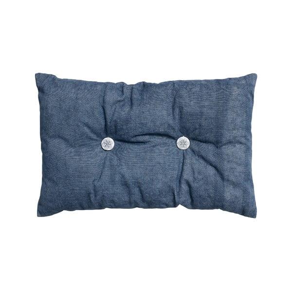Vankúš s výplňou Button 65x40 cm, modrý
