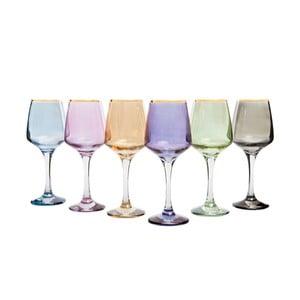 Sada 6 farebných pohárov na víno Mezzo Rainbow, 330 ml