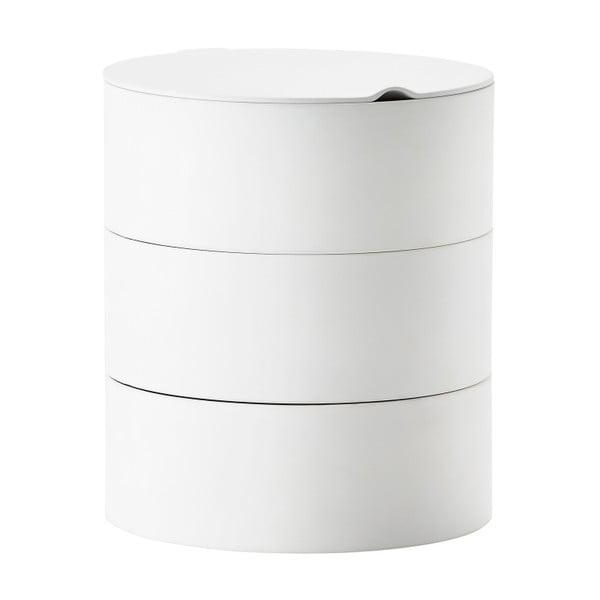 Trojposchodový úložný box so zrkadlom Zone Slide, biely