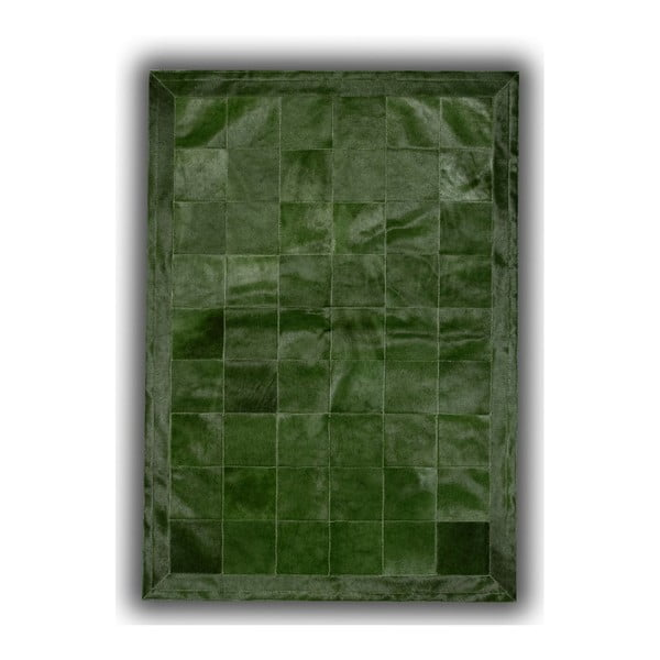 Koberec z pravej kože Green Olive, 140x200 cm
