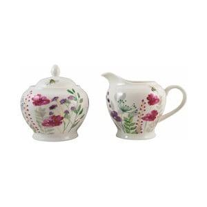 Porcelánový set cukorničky a nádoby na mlieko s potlačou kvetín David Mason In Bloom