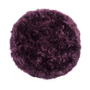 Tmavě vínový koberec z ovčí kožešiny Royal Dream Zealand,⌀ 70cm