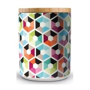 Porcelánová dóza s dreveným vrchnákom Remember Hexagon, 1,62×⌀1,25 cm