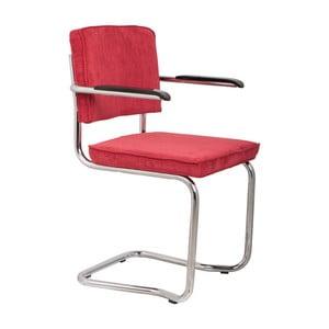 Sada 2 červených stoličiek s opierkami Zuiver Ridge Kink Rib