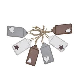 Sada 6 drevených vianočných visačiek na darčeky Ego Dekor Christmas