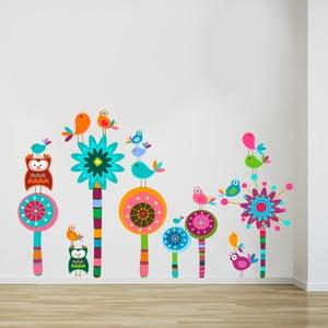 Samolepka na stenu Kvietky a sovičky, 70x50 cm
