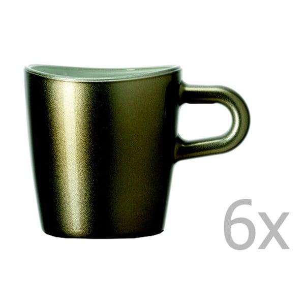 Sada 6 hnedých metalických hrnčekov na espresso LEONARDO Loop, 75 ml