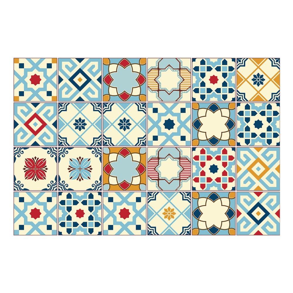 Sada 24 samolepiek na stenu Ambiance Azulejos Rano, 10 × 10 cm