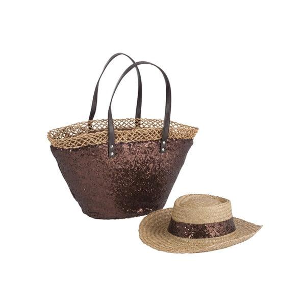 Plážová taška so slameným klobúkom Spangle Brown