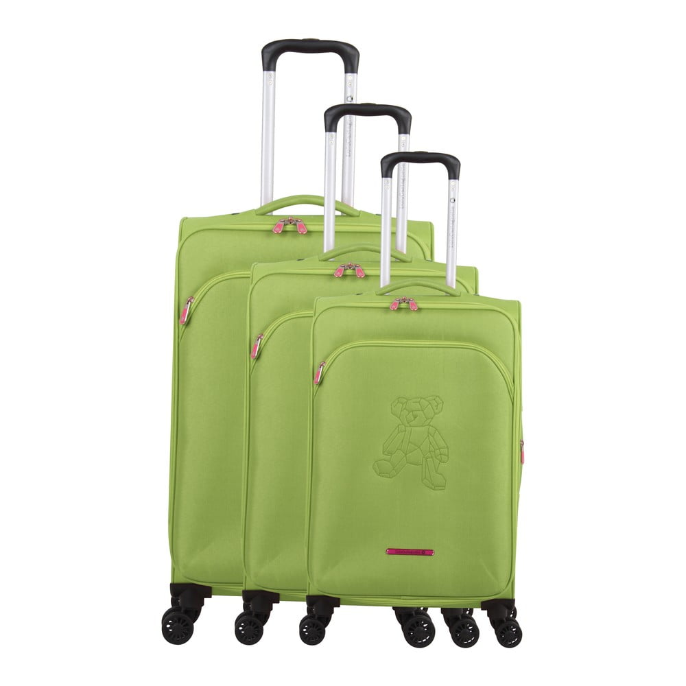 Sada 3 zelených kufrov na 4 kolieskach Lulucastagnette Emilia