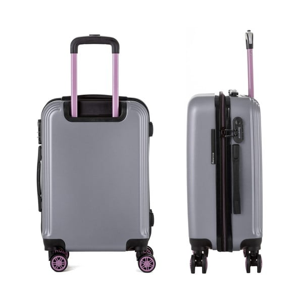 Sivý cestovný kufor Berenice Wingy, 44 l