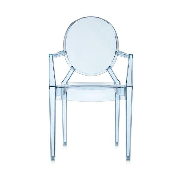 Svetlomodrá transparentná stolička Kartell Lou Lou Ghost