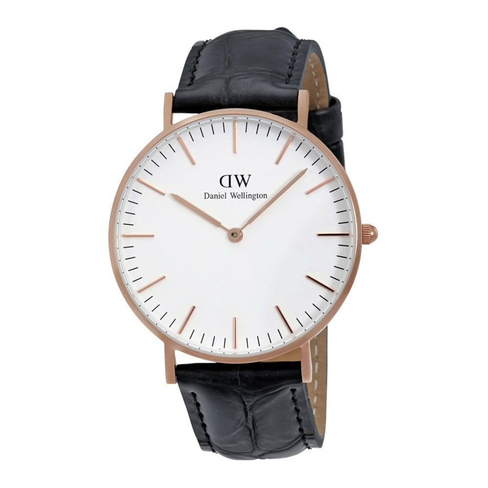 Pánske hodinky s čiernym remienkom Daniel Wellington Reading Rose, ⌀ 40 mm