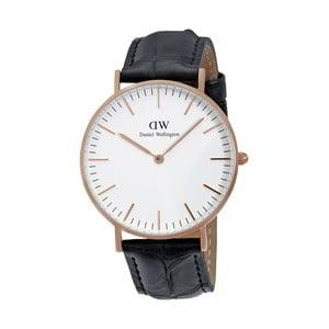 Pánske hodinky s čiernym remienkom Daniel Wellington Reading Rose, ⌀40 mm