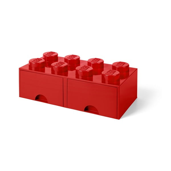 Červený úložný box s dvoma zásuvkami LEGO®