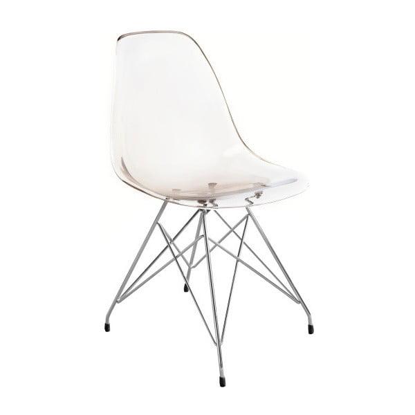 Transparentná jedálenská stolička v dymovom prevedení Canett Crystal