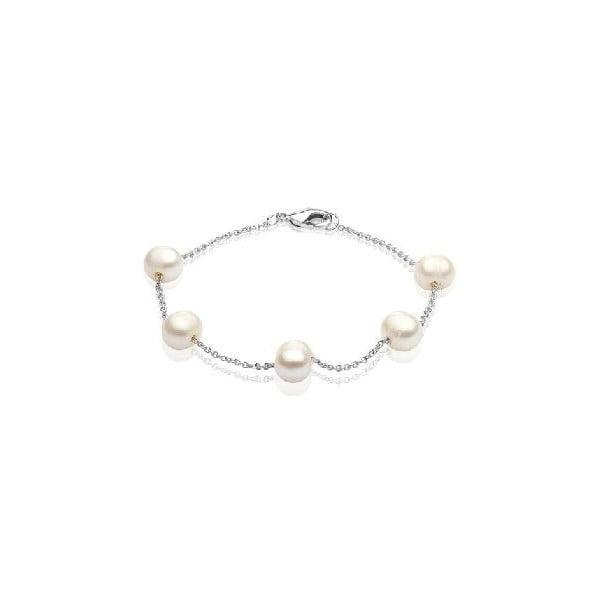 Náramok z riečnych perál GemSeller Punctata, biele perly