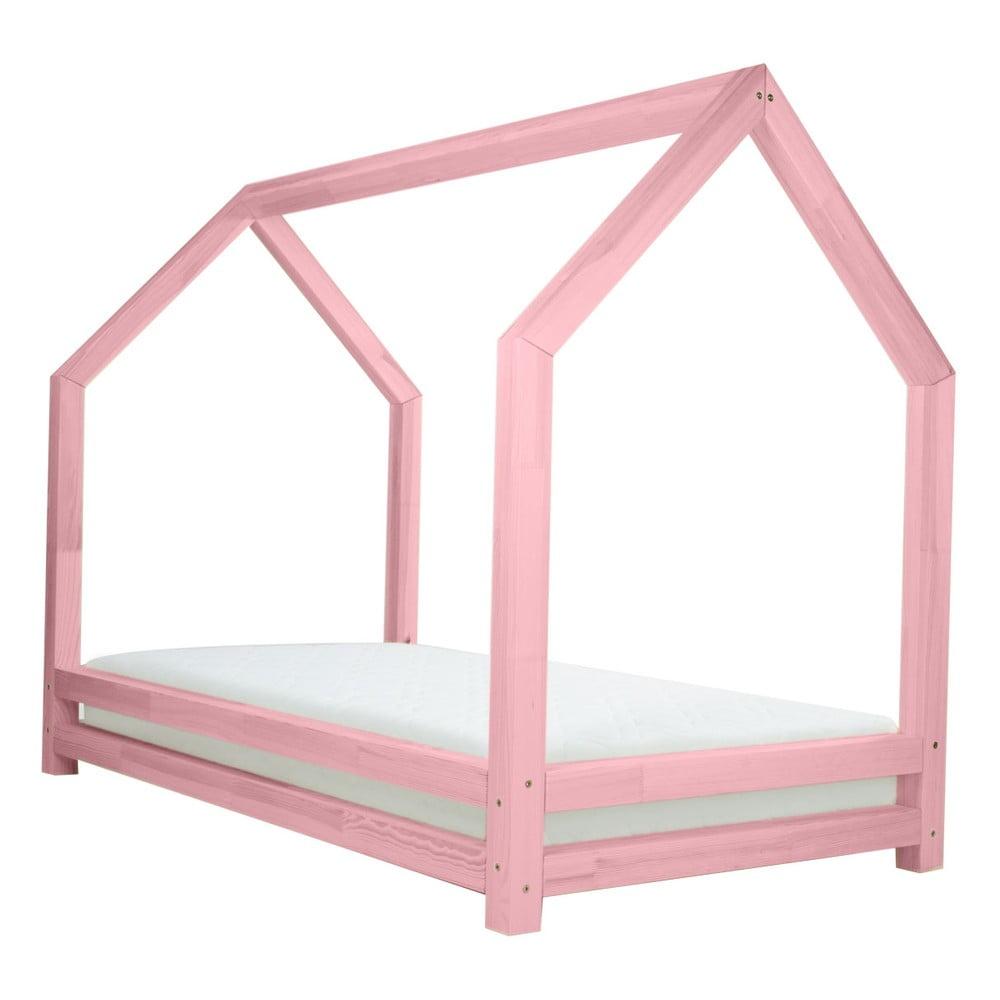 Ružová jednolôžková posteľ z borovicového dreva Benlemi Funny, 80 × 160 cm