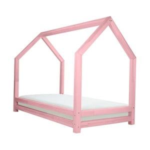 Ružová jednolôžková posteľ z borovicového dreva Benlemi Funny, 80 x 160 cm