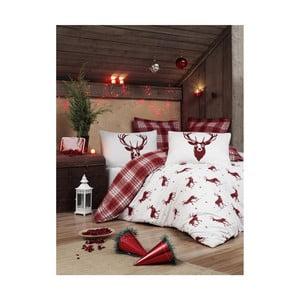 Vianočné obliečky na jednolôžko s plachtou Emily, 160×220 cm