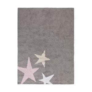 Sivý bavlnený ručne vyrobený koberec s ružovou hviezdou Lorena Canals Three Stars, 120 x 160 cm