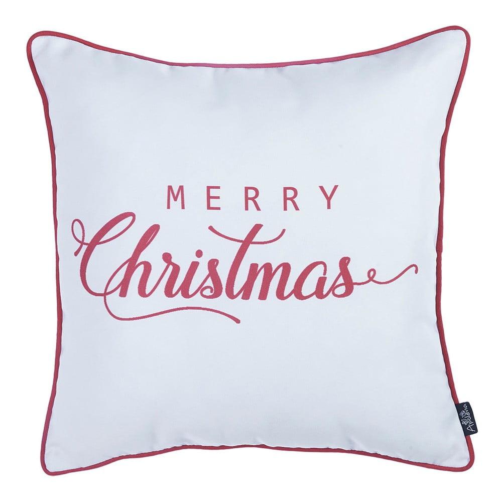 Bielo-červená vianočka obliečka na vankúš Apolena Honey Merry Christmas, 45 × 45 cm