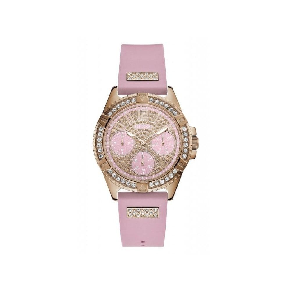 Dámske hodinky s ružovým silikónovým remienkom Guess W1160L5