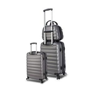 Sada 2 sivých cestovných kufrov na kolieskach s USB porty a príručného kufríka My Valice RESSO Cab Med & MU