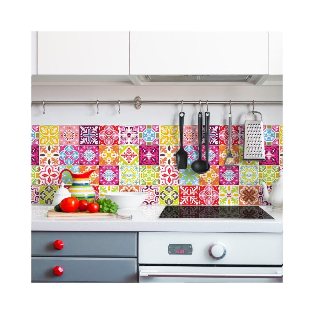 Sada 30 nástenných samolepiek Ambiance Wall Stickers Cement Tiles Heloisa, 15 × 15 cm