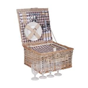 Prútený piknikový košík s príslušenstvom pre 4 osoby Grace